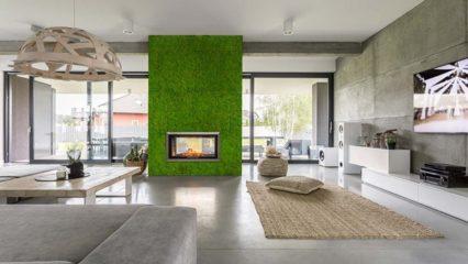 Giardini verticali pareti verdi salotto camino